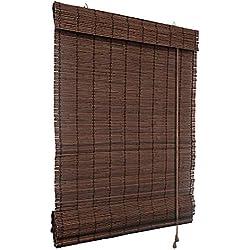 Persiana enrollable de bambú 100 x 220 cm, color marrón oscuro