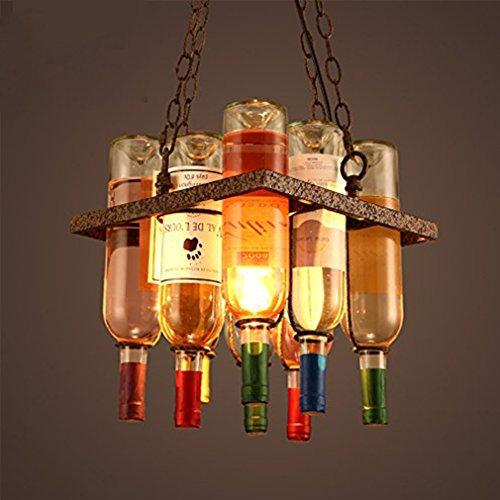 Retro E27 Kreative Leuchter Bar Wohnzimmer Antik Old-fashioned Lüster Antike Bronze Platz Typ Glas Lampenschirm Ø300 MM Bunte Wein Flasche Pendellampe Hoch Einstellbar Hängelampe 220V (Flaschen Glas Antike)