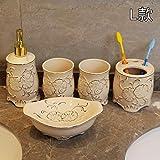 PatTheBot Badezimmer Zubehör Set Moderne Kunst 5 Stück Handmade Geschnitzt Blumen Relief Weiß China Keramik Zahnbürstenhalter, Tassen, Seifenspender, Gericht, Original Design Kreativ