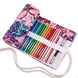 Amoyie - Sacchetto della matita portamatite arrorolabile per 48 matite colorate porta penne tela wrap borse organizer astuccio portapenne scuola cassa del supporto di matita viaggio le foglie 48
