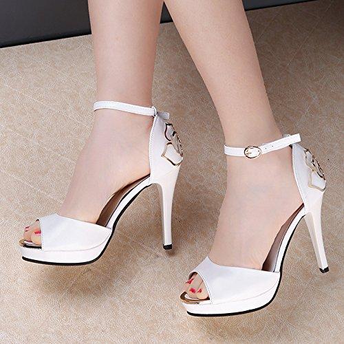 Die neuen weißen Blüten seitlichen Luft Sandalen High Heels Schuhe fein mit Höhe mit Fischkopf Frauen Schuhe White