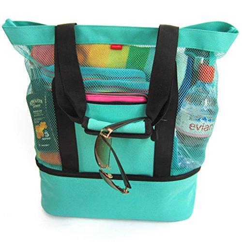 Aruba Mesh Beach Tote Bag mit Reißverschluss und isoliertem Picknick-Kühler -