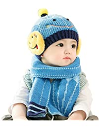 Ziory Baby Boy s and Girl s Knitting Woollen Pencil Earflap Beanie Cap and  Muffler Set (Blue 49e39e1c1f38