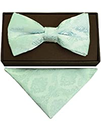 ad3354915b65 TIES R US Mint Green Paisley Handmade Mens Bow Tie and Pocket Square Set