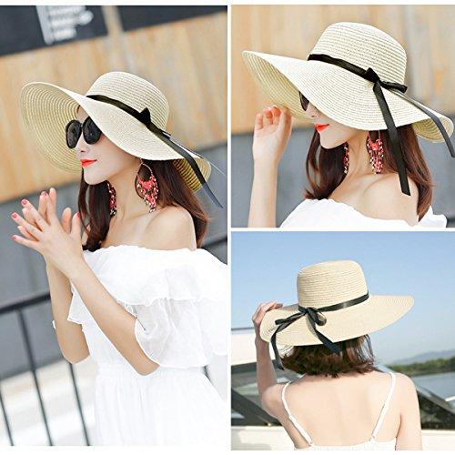 Cappelli da Sole Donna Cappello da Spiaggia Estate Cappello di Paglia  Cappuccio di Protezione Solare cap Protezione UV 3ea103807f81