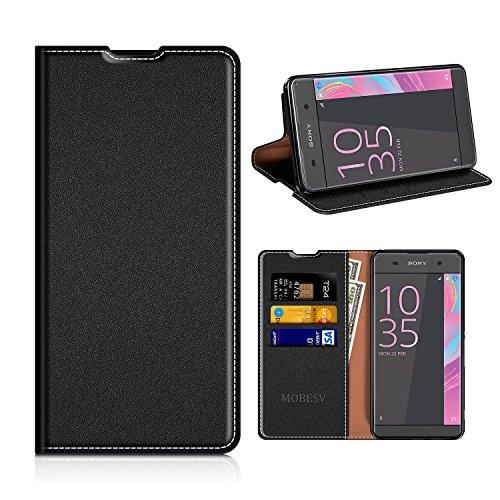MOBESV Sony Xperia XA Hülle Leder, Sony Xperia XA Tasche Lederhülle/Wallet Case/Ledertasche Handyhülle/Schutzhülle mit Kartenfach für Sony Xperia XA 2016 - Schwarz