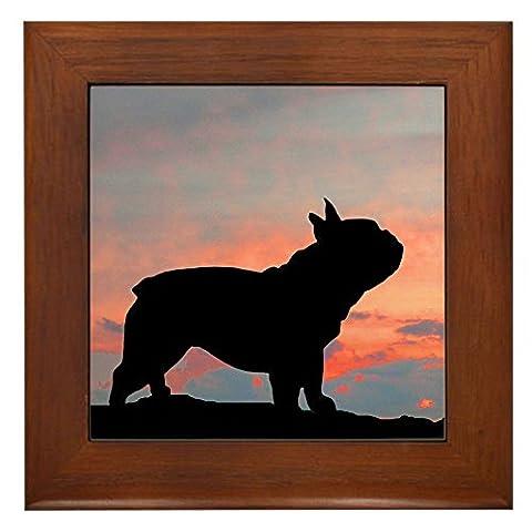 CafePress - French Bulldog Sunset - Framed Tile, Decorative Tile Wall Hanging