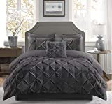 Fixtex Pinch Pleat Pintuck Duvet Cover Set with Fitted Sheet & Pillow Cases
