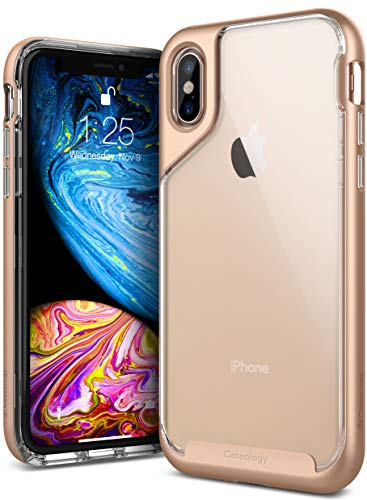 Caseology for iPhone XS Case [Skyfall Series] - Clear Slim Fit Corner Cushion Enhanced Drop Protection Transparent Design Case for iPhone XS 5.8 (2018) & iPhone X (2017) - Gold