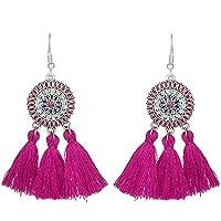 Chytaii Pendientes Mujer Pendientes Largos con Flecos Viento Nacional Pendientes de Forma Geométrica Accesorios Damas Pendientes Coloridos (púrpura)