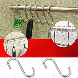NEOU 3X Crochets en forme de S pour accrocher casserole de pot de rail de suspension ustensile couvercles cuisine