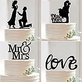 Generic D : New Mr Mrs Wedding Cake Topper Acrylic Black Romantic Bride Groom Wedding Cake Decorations Party Favors Supplies
