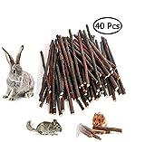 UMIWE 40 Pcs Branches d'Arbres Pomme Mâcher Bâtons pour Petits Animaux Lapin Hamster, Bois Naturel Bâtons à mâcher brindilles pour Rat Gerbille Souris écureuil Lapin Cochon (40 Pcs)