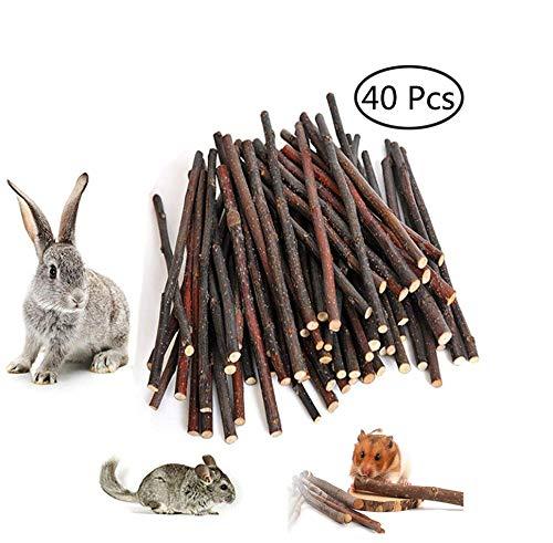 40 Stück Apfelholz Kauen Stöcke Zweige, Natur Holz Kauen Sticks für kleine Haustiere Kaninchen Hamster Meerschweinchen Spielzeug (natürliches Holz)