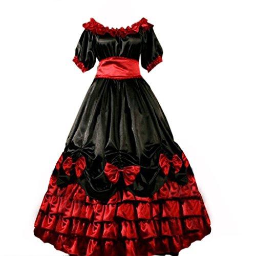 Froufrous manches courtes pour femme avec nœud au sol Longueur Fancy Dress Noir - Noir