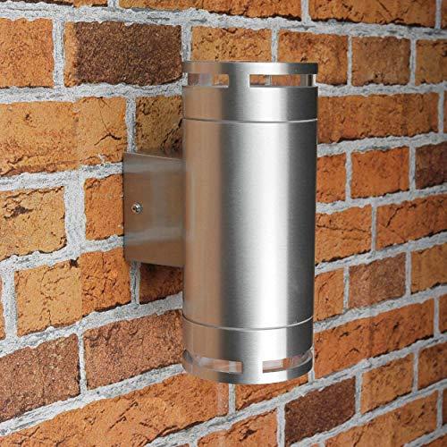 Design Außenwandleuchte Außenlampe aus Edelstahl mit GX53 Fassung 230 Volt in silber Außenleuchte Wandlampe Wandleuchte Garten Hof Außen