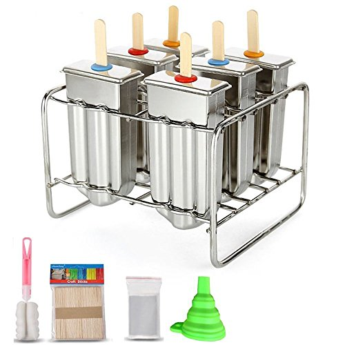 NEWELL Popsicle De Acero Inoxidable Ice Lolly 6 Piezas Pop Mold, Ice Cream Mold Holder Base Maker El Juego Incluye Silicone Funnel + Cleaning Brush + 30 Bamboo Reutilizables Sticks