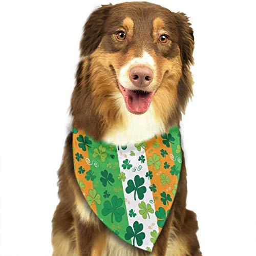Wfispiy St. Patrick's Day Irish Shamrock Muster weicher Baumwolle Klassische Tiere Bandana Haustier Hund Katze Dreieck Lätzchen