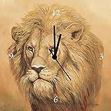 Artland Analoge Wand-Funk-oder Quarz-Uhr Digital-Druck Leinwand auf Holz-Rahmen gespannt mit Motiv A. S. Löwe Tiere Wildtiere Raubkatze Malerei Ocker A3LN