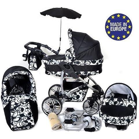 Baby Sportive Twing - Sistema de viaje 3 en 1, silla de paseo, carrito con capazo y silla de coche, RUEDAS GIRATORIAS, parasol y accesorios, color negro, flores blancas