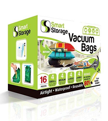 Vakuum-Aufbewahrungsbeutel, 16er-Packung von Smart Storage | Platzsparende Beutel für Kleidung, Kissen & Bettwäsche, Reisegepäck | Vakuum-Aufbewahrungsbeutel -