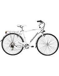 "Bicicleta de paseo Cicli Adriatica Sity 3 para hombres cuadro de aluminio 28"" 18 velocidades (Blanco, 50)"