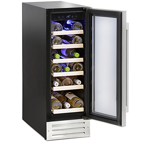 Montpellier WS19SDX Wine Cooler | 19 Bottle Wine Cabinet in Stainless Steel, 30cm