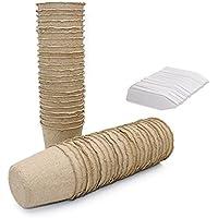 KINGLAKE 100 macetas de 6 cm redondas de fibra biodegradables para semillas y 100 pequeñas etiquetas de plástico para plantas de 1 x 5 cm