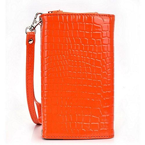 Kroo Croco Étui portefeuille universel pour smartphone avec bracelet de protection d'écran haute qualité pour Allview E2Living/A6portable Quad noir - noir Orange - orange