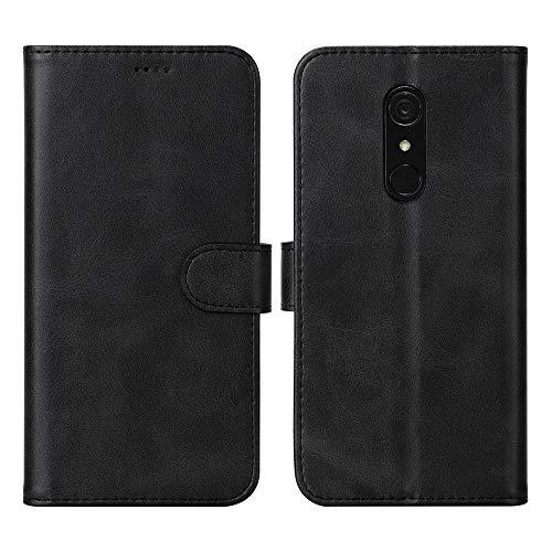 DDJ LG G7 Fit Hülle, Premium PU Leder Flip Case Schutzhülle mit Kartensteckplätzen für LG G7 Fit (schwarz)