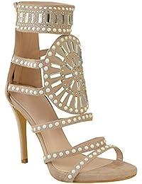 Fashion Thirsty Damen Stilettos mit Hohem Absatz - Schmuckstein-Details