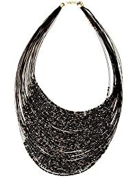 IGP Exciting Multi Strand Black Beads String Necklace For Women And Girls