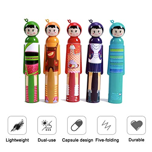 Folding Umbrella Creative Doll Style Shape Mini Compact Foldable Design Travel/Folding/Portable Umbrella with Waterproof and Compact Bottle (Purple)
