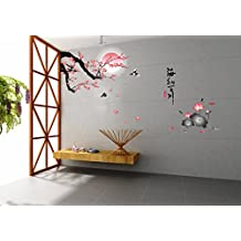 UberLyfe Plum Blossom Flowers Tree Wall Sticker Size 4 (Wall Covering Area: 160cm x 150cm) - WS-000442