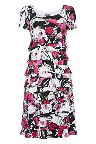 Roman Originals Women Floral Print Frill Jersey Dress - Ladies Stretch Summer Cute Day Flattering Dresses - Cerise Pink