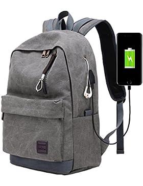 Super Modern Unisex Leinwand USB Schule Bag Travel Super Break mit Kopfhörer Loch Wandern Rucksack Cool Sport...