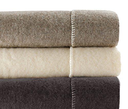 Ourson - 11010013-220, coperta matrimoniale in pura lana vergine ecologica, 240 x 260 cm, nero (burel r3)