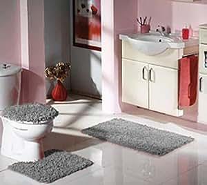 shaggy badvorleger 3 er set grau badematte duschvorleger badgarnitur langflor hochflor. Black Bedroom Furniture Sets. Home Design Ideas