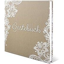 Hochzeit Gästebuch Hardcover - Rustikal Kraftpapier - 210 x 210 mm 144 Seiten Weiße Innenseiten Naturpapier