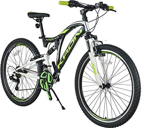 KRON ARES 4.0 Fully Mountainbike 26 Zoll | 21 Gang Shimano Kettenschaltung mit V-Bremse | 16.5 Zoll Rahmen Vollgefedert MTB Erwachsenen- und Jugendfahrrad | Schwarz & Grün