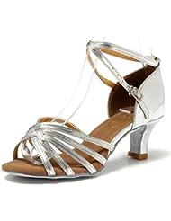 Mujer Zapatos Tacon - Generico 1 par Mujer Zapatos Tacon De Salsa Bachata Latinos Baile Sandalias Latin Shoe, Plata 40