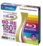 Verbatim Mitsubishi 25GB 2x Speed BD-RE Blu-ray Re-Writable Disk 5 Pack - Ink-jet printable - Each disk in a jewel case