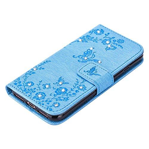 """MOONCASE iPhone 7 Hülle, Premium Leder Schutzhülle [Blumen Schmetterling Serie] PU Leder Flip Handyhülle Tasche Case für iPhone 7 (4.7"""") Grün Blau"""