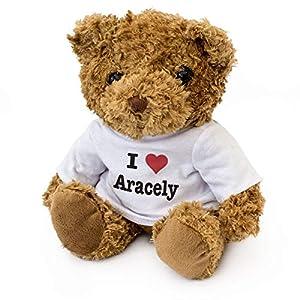 Oso de Peluche con Texto en inglés I Love Aracely, Suave y Bonito, Regalo de cumpleaños o Navidad