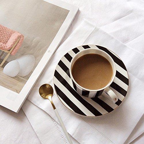 AJUNR-Feine Mode Keramik Kaffee Tasse Teller Schwarz-Weiß Gestreiften Bone China Becher Kaffee Tasse Home