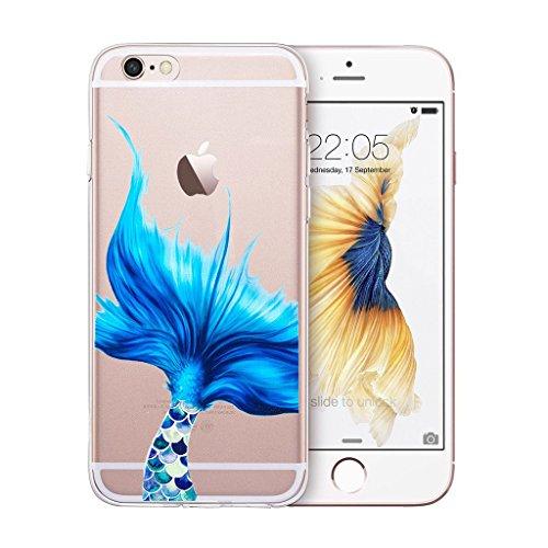 Hülle für Apple iPhone 6S / 6 , IJIA Transparente Blau Mermaid Schwanz TPU Weich Silikon Stoßkasten Hülle Handyhülle Schutzhülle Handyhüllen Schale Case Handytasche für Apple iPhone 6S / 6 (4.7