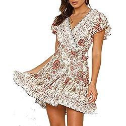 Abravo Mujer Vestido Bohemio Corto Florales Nacional Verano Vestido Casual Magas Cortas Chic de Noche Playa Vacaciones,Rosa,L
