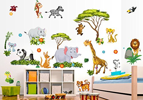 Preisvergleich Produktbild 060 Wandtattoo Dschungel Tiere Löwe Elefants in 6. Größen (2000 x 1120 mm)