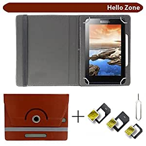 "Hello Zone With Free Sim Adapter Kit Rivio 360° Rotating 7"" Inch Flip Case Cover Book Cover -Brown"