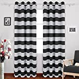 Deconovo Super Soft Striped Printed Blackout Curtains Window Treatment Ready Made Eyelet Blackout Curtains for Livingroom with Two Matching Tie Backs 46 x 90 Inch Black Two Panels